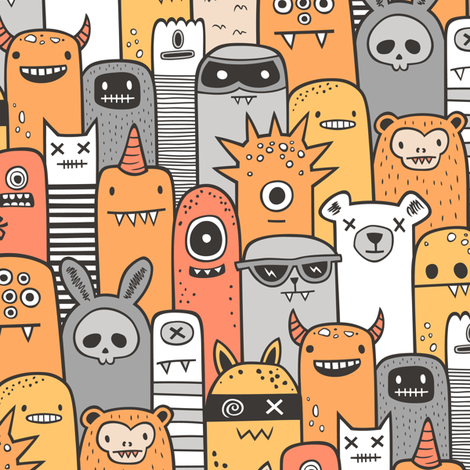 Monsters and Friends Orange fabric by caja_design on Spoonflower - custom fabric