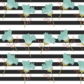 Mint Blooms on Black Stripes