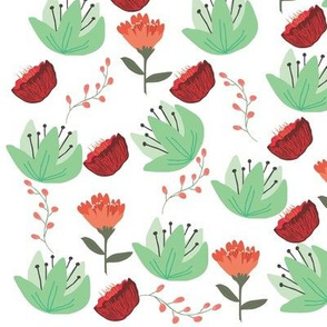Floral Wonder Coordinate - Mint Flowers - Red flowers - coral flowers