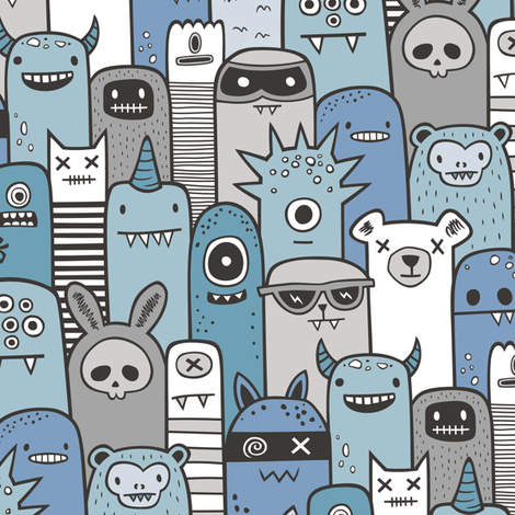 Monsters and Friends Blue Grey fabric by caja_design on Spoonflower - custom fabric