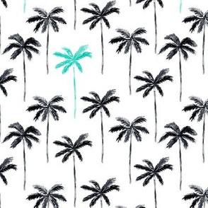 palm trees - watercolor black and teal