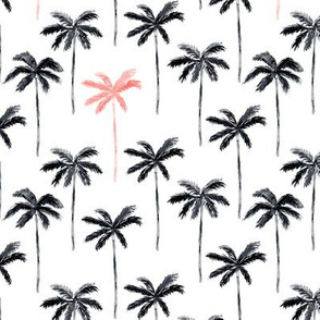 palm trees - watercolor black and coral
