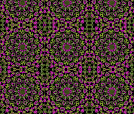 green leaves pink circles fabric by tell3people on Spoonflower - custom fabric