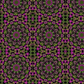 green leaves pink circles