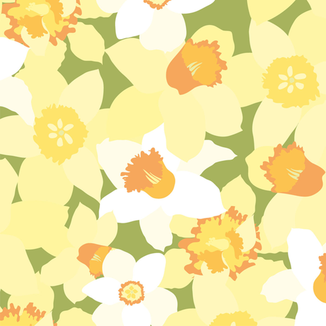 Gorgeous daffodils fabric by stewsha on Spoonflower - custom fabric