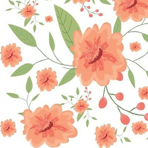 Peach painted flowers - Peach floral