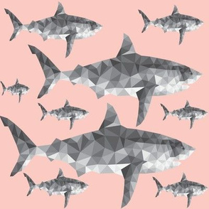 Geometric Sharks Blush Pink - Nautical - Summer