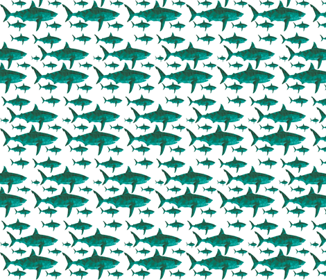 Geometric Sharks Aquamarine - Nautical Sharks - summer fabric by modfox on Spoonflower - custom fabric