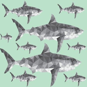 Geometric Sharks Mint - Nautical Sharks - Summer