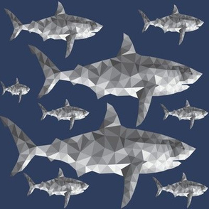 Geometric Shark Navy - Nautical Sharks - Summer