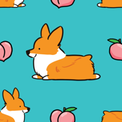 LARGER SIZE Corgi Peach Sploot (Red Pembroke – Blue BG)