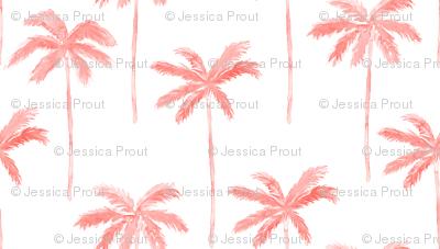 watercolor palm - coral