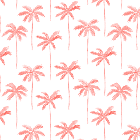 watercolor palm - coral fabric by littlearrowdesign on Spoonflower - custom fabric