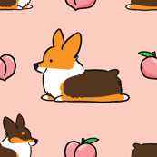 LARGER SIZE - Corgi Peach Sploot (Red Tri)