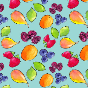 Watercolor Fruit on Cyan Background