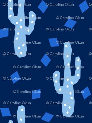 Midnight Blue Geometric Cactus