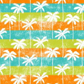 palm tree on retro green & orange  stripes
