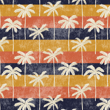 palm tree on retro stripes fabric by littlearrowdesign on Spoonflower - custom fabric