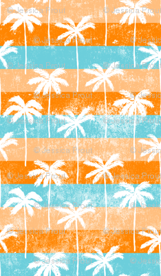 palm tree on retro orange and blue stripes