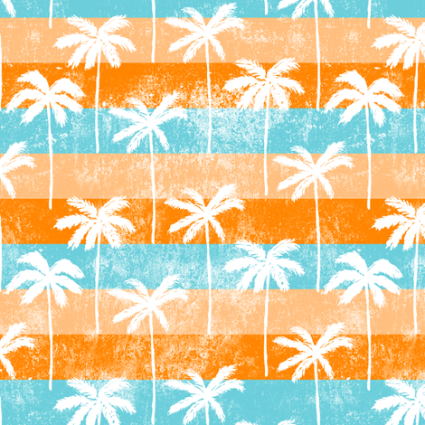 palm tree on retro orange and blue stripes  fabric by littlearrowdesign on Spoonflower - custom fabric