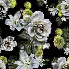 Old Masters Flowers with green moody