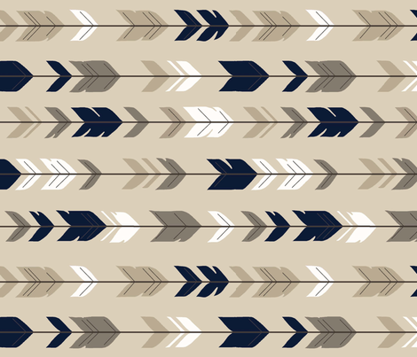 Arrow Feathers - Tan and NAVY fabric by sugarpinedesign on Spoonflower - custom fabric