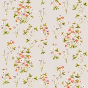 Meadow Wildflower 02C Autumn on Vintage Cotton