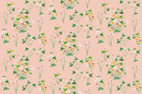Meadow_04E_Golden_Peach fabric by thistleandfox on Spoonflower - custom fabric