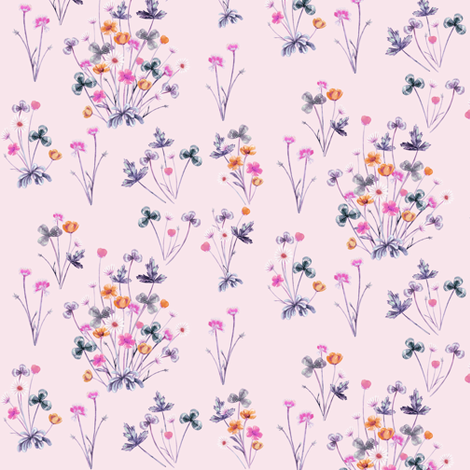 Meadow Wildflowers 04B PalestRose fabric by thistleandfox on Spoonflower - custom fabric