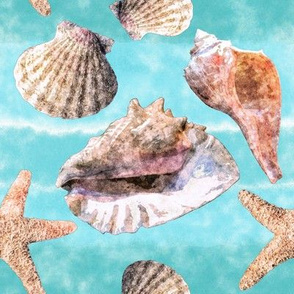 Sea Shells Ocean Blue Watercolor