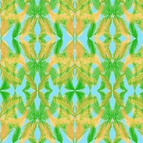 A Palm Leaf Lattice on Tropical Sky Blue