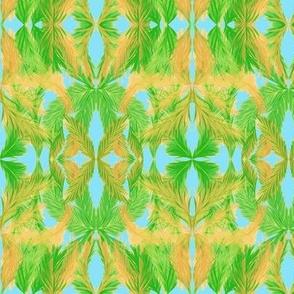 A Leafy Palm Screen on Tropical Sky Blue