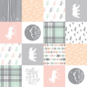 Pink , Mint, Grey,  Peach Fearfully and Wonderfully Made - Patchwork woodland quilt top (90)