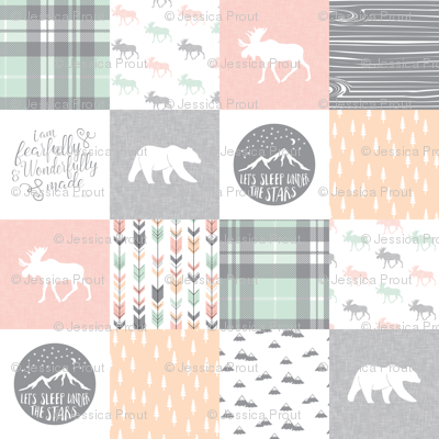 Pink , Mint, Grey,  Peach Fearfully and Wonderfully Made - Patchwork woodland quilt top