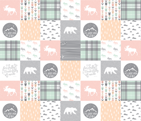 Pink , Mint, Grey,  Peach Fearfully and Wonderfully Made - Patchwork woodland quilt top fabric by littlearrowdesign on Spoonflower - custom fabric