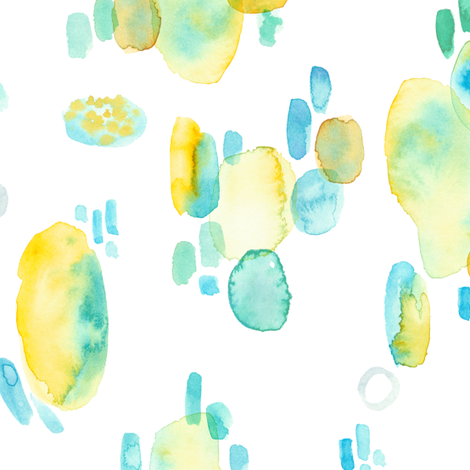 abstract emotional blue and yellow watercolor spots fabric by alenaganzhela on Spoonflower - custom fabric