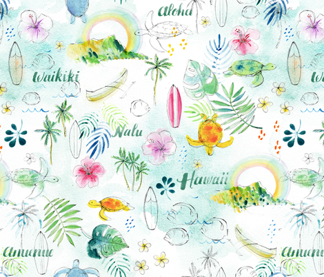 Rainbows in Hawaii - © Lucinda Wei fabric by lucindawei on Spoonflower - custom fabric
