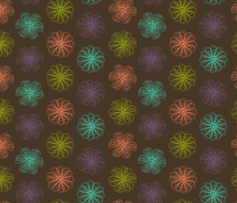 Scribble Flowers (brown and brights palette) fabric by chiral on Spoonflower - custom fabric