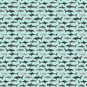 shark fabric // mint shark boys kids ocean animal sea creature hammerhead great white whales sharks shark fabric