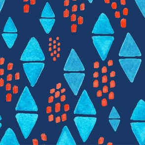 Watercolor Triangles & Dots on Navy - Large Scale