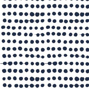 Navy On White Painterly Polka Dot