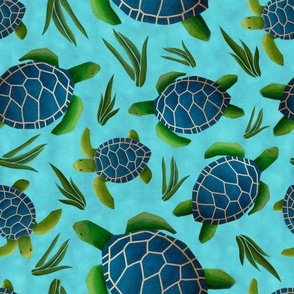 Sea Turtles on Blue