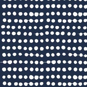 White on Navy Polka Dots