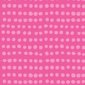 Medium Pink on Hot Pink Painterly Polka Dot