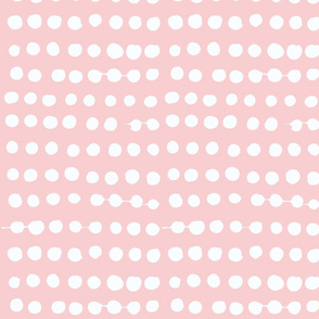 White on Ballet Pink Painterly Polka Dots