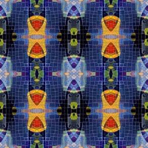 Mosaic Stripes on Blue