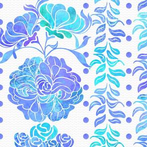 Floral-Columns Blue
