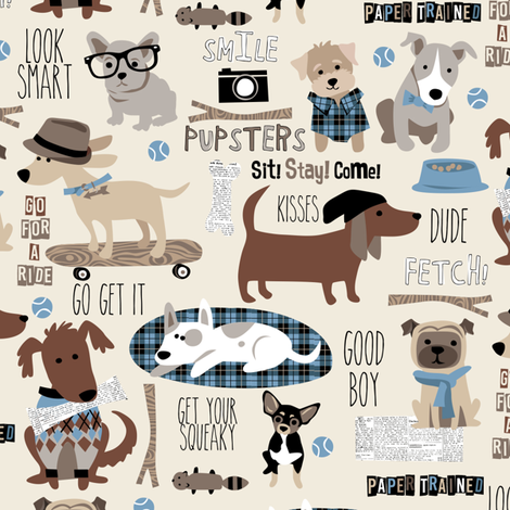 Hipster Dog natural blue fabric by bzbdesigner on Spoonflower - custom fabric