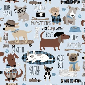 Hipster Dog Blue small