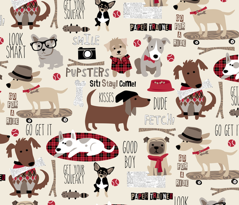 Hipster Dog Natural Large fabric by bzbdesigner on Spoonflower - custom fabric